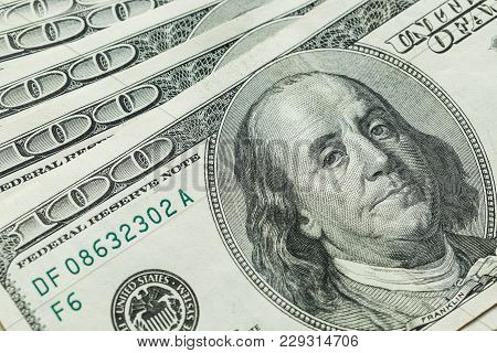 Macro Close Up Of Ben Franklin's Face On The Us 100 Dollar