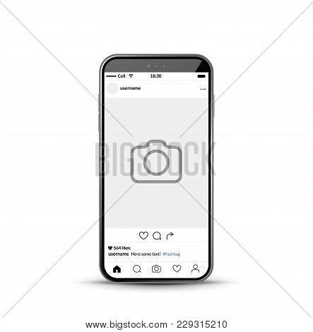 Social Network Photo Frame Mobile Template. Social Media App Vector Illustration.