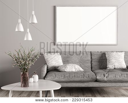 Modern Interior Of Living Room With Grey Sofa, White Coffee Table And Mock Up Poster On The Wall 3d