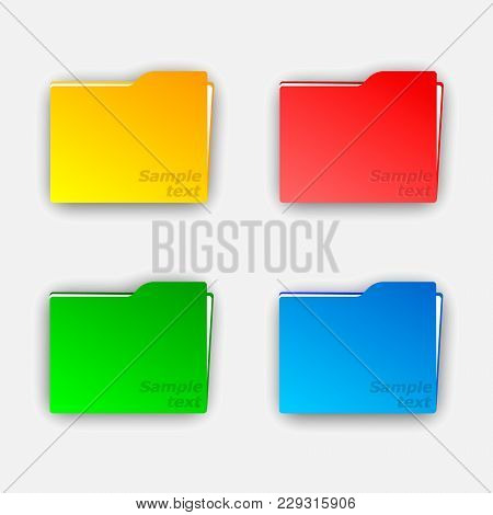 Collection Of File Folder With Documents Vector Illustration. Set Of Multi-colored Folders.