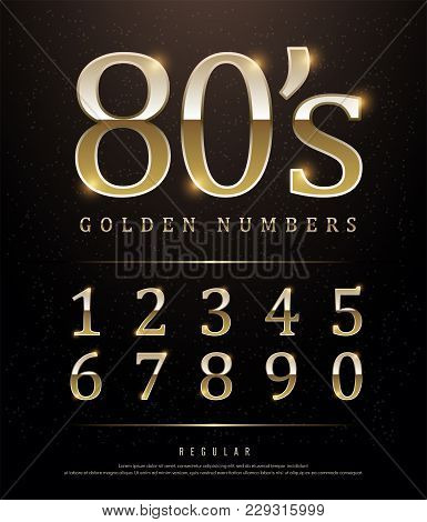 80s Retro Elegant Numbers Gold Colored Metal Chrome Alphabet Font. Typography Classic Style Golden N