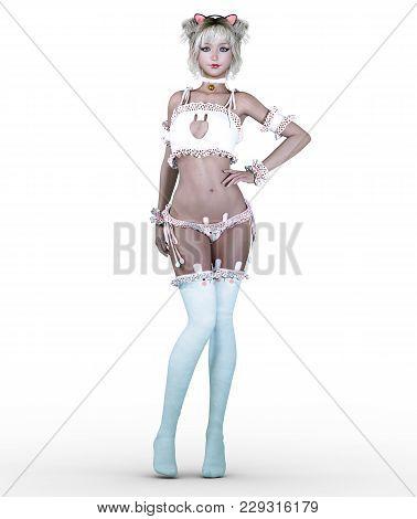 3d Beautiful Attractive Japanese Girl In White Bustier And Stockings. Cat Girl. Woman Studio Photogr