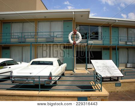 National Civil Rights Museum, Lorraine Motel, A Memorial Wreath At The Corner On The Second Floor Wh