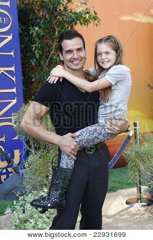 LOS ANGELES - AUG 27: Antonio Sabato Jr; daughter at the premiere of Walt Disney Studios' 'The Lion King 3D' on August 27, 2011 in Los Angeles, California