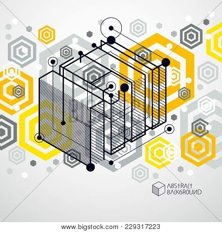 Isometric Abstract Yellow Background With Linear Dimensional Cube Shapes, Vector 3d Mesh Elements. L