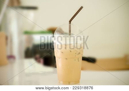 Ice Coffee (latte Coffee) On Bar In The Coffee Shop