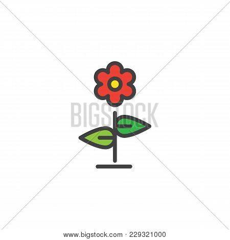 Red Flower Filled Outline Icon, Line Vector Sign, Linear Colorful Pictogram Isolated On White. Flore