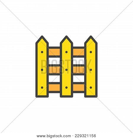 Plank Fence Filled Outline Icon, Line Vector Sign, Linear Colorful Pictogram Isolated On White. Wood
