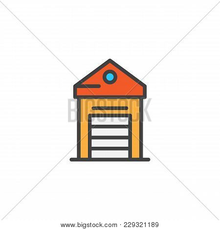 Greenhouse Filled Outline Icon, Line Vector Sign, Linear Colorful Pictogram Isolated On White. Glass