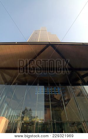 Willis Tower (formerly Sears Tower) As Seen Looking Up From The Jackson Pavilion Entrance On A Clear