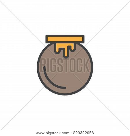 Honey Jar Filled Outline Icon, Line Vector Sign, Linear Colorful Pictogram Isolated On White. Mead S