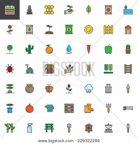 Gardening And Farming Filled Outline Icons Set, Line Vector Symbol Collection, Linear Colorful Picto