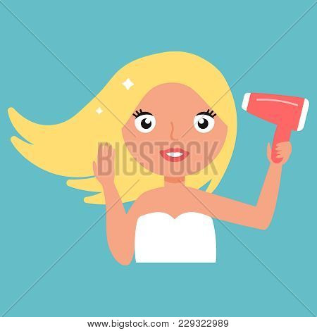 Hair Dryer. Beautiful Smiling Woman Drying Healthy Long Straight Hair Using Hairdryer. Portrait Attr