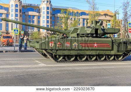 Moscow Russia - May 9: Russian Main Tank T14 Armata On Parade Festivities Devoted To 72 Anniversary