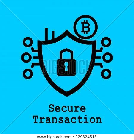 Block Chain Flat Icon. Secure Transaction Symbol. Vector Illustration. Block Chain Technology Concep