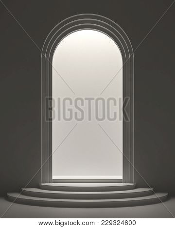Arch Shape Door With Light Inside 3d Rendering Image ,product Showcase Station Using The Light To Sh