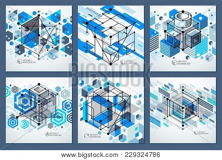 Engineering Technological Blue Vector 3d Backdrops Set Made With Cubes And Lines. Illustration Of En