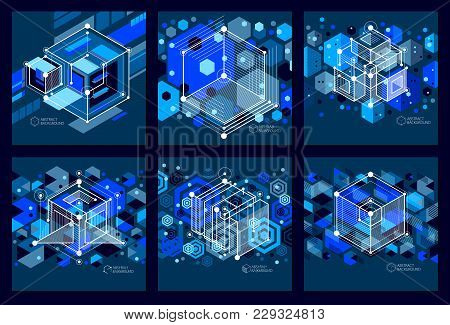 Isometric Abstract Dark Blue Backgrounds Set With Linear Dimensional Cube Shapes, Vector 3d Mesh Ele