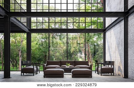 Loft Style Living Room With Nature View 3d Rendering Image.there Are White Brick Wall,polished Concr