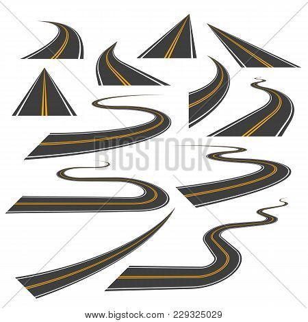 Big Set Of Asphalt Road Curves, Turns, Bankings, And Perspectives. Bending Path, Way Or Roadway Vect