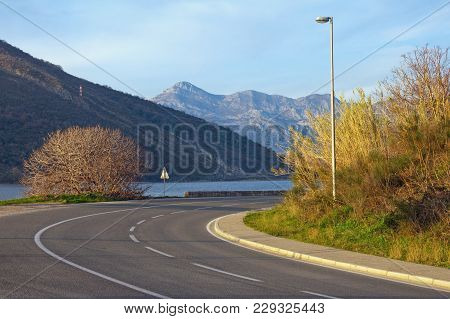 Sharp Turn Of Road. View Of Adriatic Highway (jadranska Magistrala) Running Along The Coast Of Bay O