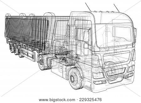 Dump Truck Vector Illustration. Isolated White Tipper Lorry. Tracing Illustration Of 3d. Eps 10 Vect