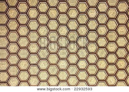 Detail of the roof of the Plaza of Spain in Seville composed of hexagons handmade wood and ceramics. poster