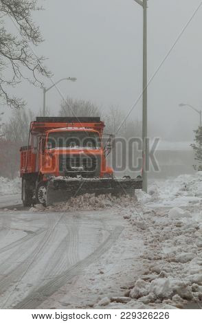 Snowplow Trucks Removing Snow On The Road Street During Blizzard Snowstorm In Ny Snow Blizzard Clear