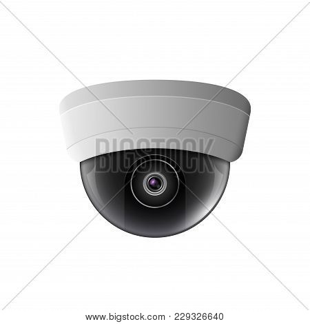Vector Security Camera Illustration. Safety Control Equipment. Ceiling Camera Protection Technology.