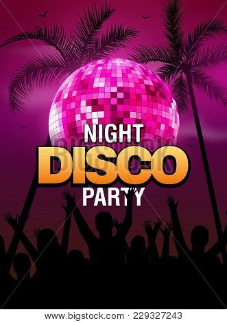 Summer Beach Party Disco Poster Design With Disco Ball Element. Vector Beach Party Flyer With Palm.
