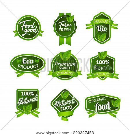 Organic Health Food Badge Seal Design. Natural Organic Food Sticker Set. Farm Product Market Signs I