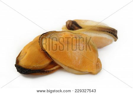 Peeled Mussel Food At On White Background