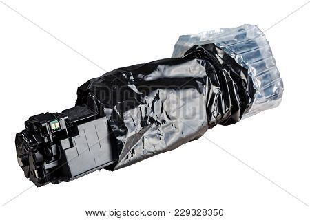 Cartridge In Black Packing, Isolated On White Background For Carving.