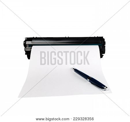 Ballpoint Pen On White Sheet Of Paper, Isolated On White Background.