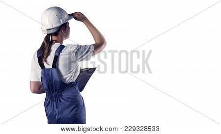Portrait Of A Builder Isolation On White