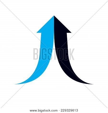 Vector Boost Up Arrow, Graphic Design Element. Corporate Development Logo Isolated On  White Backgro