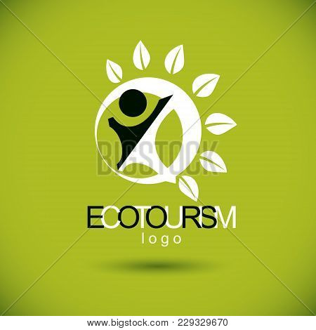 Vector Illustration Of Joyful Abstract Individual With Raised Hands Up. Ecotourism Conceptual Logo.