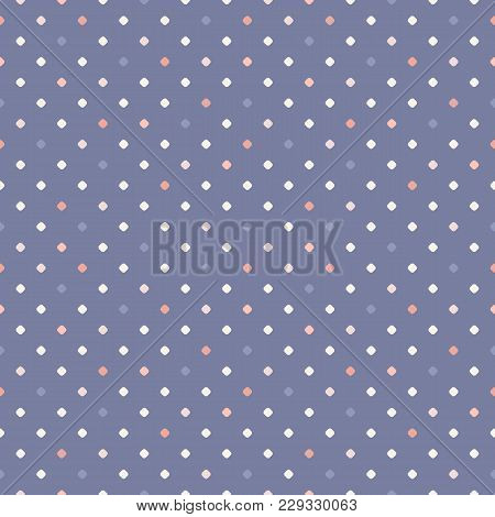 Retro Vintage Polka Dot Seamless Pattern. Simple Vector Background Texture With Small Colorful Dots,