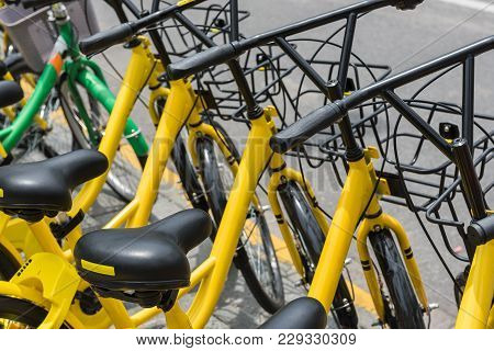 Row Of Service Public Rental Bicycle