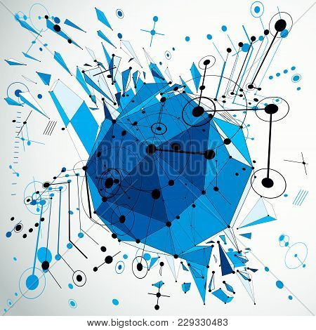 3d Vector Abstract Blue Background Created In Bauhaus Retro Style. Dimensional Geometric Composition