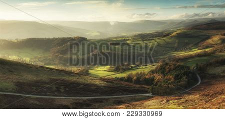 Beautiful Landscape View Of Hope Valley In Peak District During Autumn Sunset.