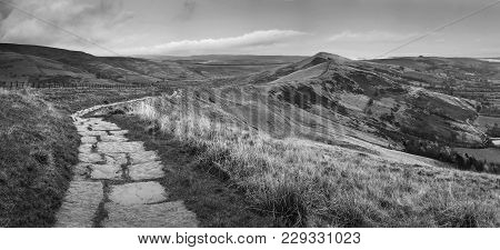 Beautiful Black And White Landscape Of Mam Tor In Peak District During Autumn.