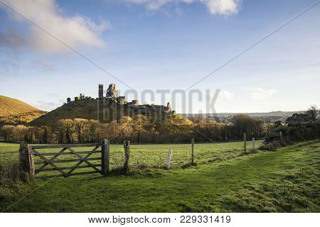 Fantastic Old Medieval Castle Ruins During Beautiful Autumn Sunset