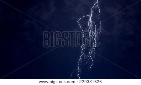 Violent Storm Hits Area, Electric Firebolt Striking From Clouds To Ground, Stock Footage