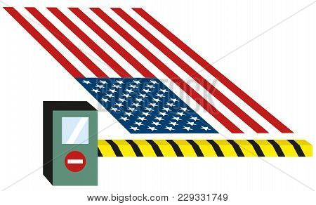 Usa  United States Puts Toll Puts Custom On Goods And Closes Borders For Immigrants Isolated Vector