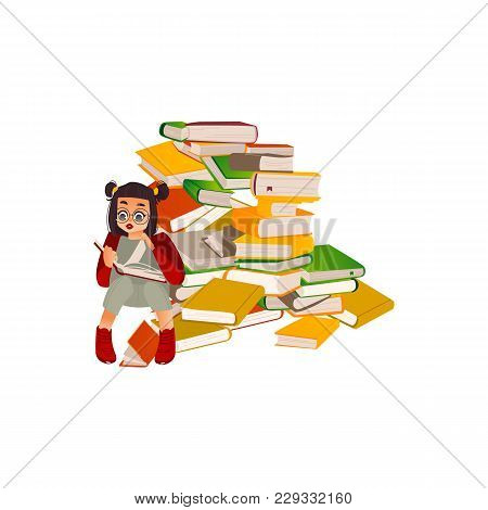 Vector Cartoon Small Girl, Female School Character In Glasses Sitting At Big Book Pile Heap Reading