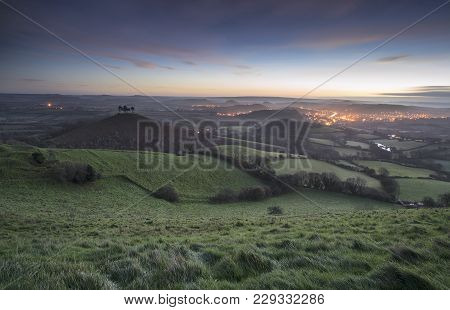 Beautiful Winter Sunrise Landscape Over Colmer's Hill In Somerset England