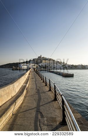 Ibiza Old Town Landscape Image Viewed From Lighthouse Pieron Summer Day