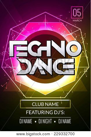 Techno Music Poster. Electronic Club Deep Music. Musical Event Disco Trance Sound. Night Party Invit