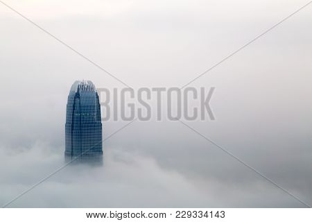 Hong Kong - Mar 3. The Foggy Hong Kong Skyline On Mar 3, 2018. Many Buildings Are Covered When Viewe